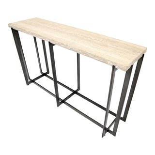 Thick Travertine Top Console Sofa Table For Sale