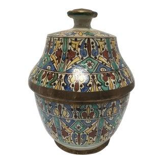 Moroccan Ceramic Glazed Storage Tureen Jar For Sale