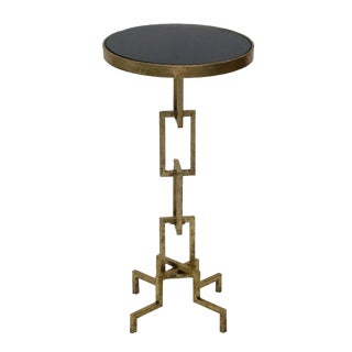 Kelly Side End Accent Table for Living Room, Granite Top, Round Contemporary Style, Unique Design- Gold Leafing For Sale