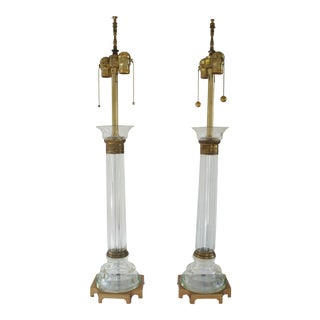 Marbro Murano Glass & Brass Column Table Lamps - a Pair For Sale