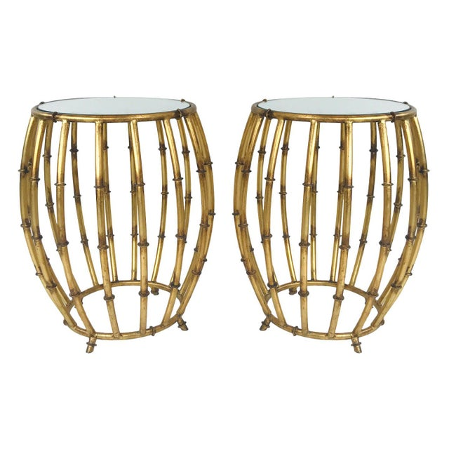 Pair of Gold Faux Bamboo Drum Side Tables With Mirrored Tops For Sale - Image 12 of 12