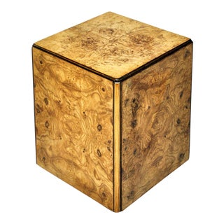 Burl Wood Rolling Side Table For Sale