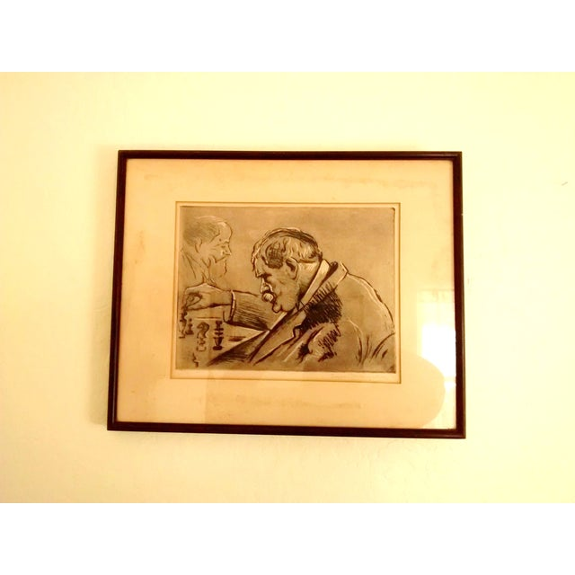Paris Chess Club 1930 Abstract Etching - Image 2 of 5