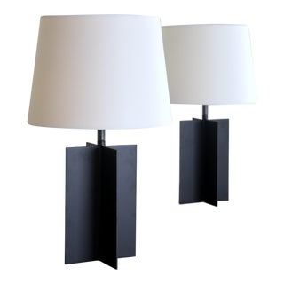 Medium 'Croisillon' Matte Black Steel Table Lamps by Design Frères - a Pair For Sale