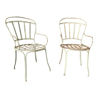 Pair of Iron Painted French Garden Chairs For Sale