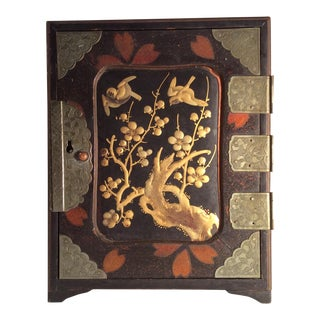 Antique Japanese Lacquer With Raised Gold Decoration Chest For Sale