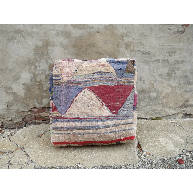 The perfect accessory for your chair or sofa, this recycled kilim floor pillow was made in the mid and high Atlas...