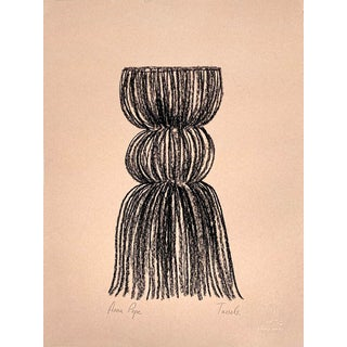 """""""Tassels"""" Contemporary Minimalist Still Life Charcoal Drawing For Sale"""