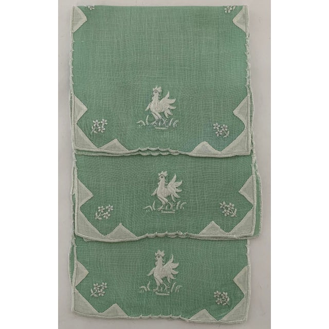 1950s 1950s Linen Rooster Cocktail Napkins, - Set of 3 For Sale - Image 5 of 5