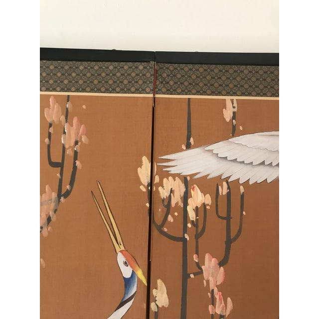 1960s Japanese Dancing Cranes Screen For Sale In West Palm - Image 6 of 12