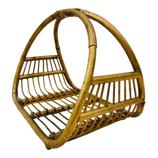 Vintage Albini Bent Rattan Holder For Sale