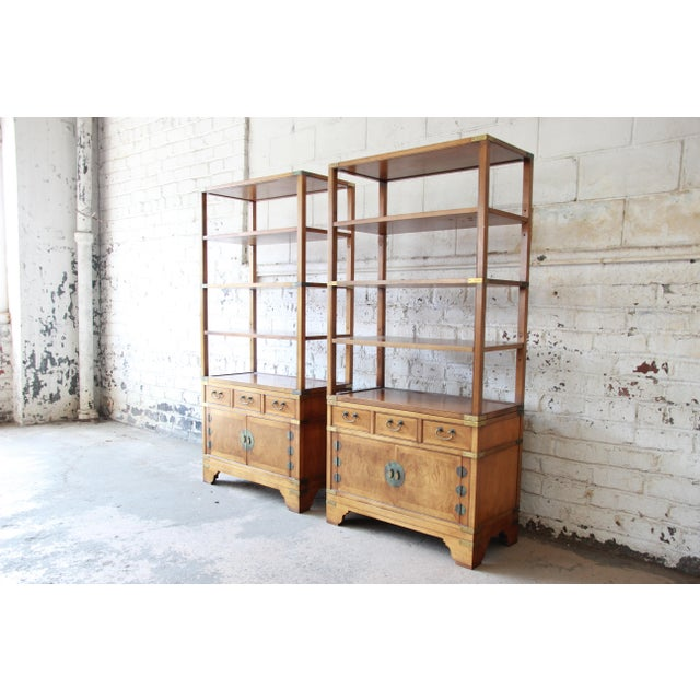 Offering an outstanding pair of Chinoiserie wall units or bookcases designed by Michael Taylor for his Far East Collection...