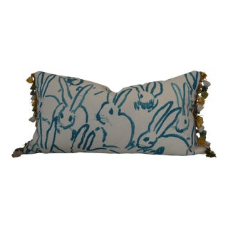 Lee Jofa Groundworks Turquoise Bunny Hutch Print Pillow For Sale