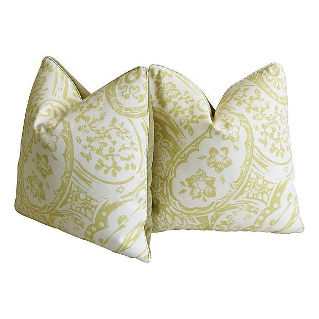 "Cotton Designer Lee Jofa Paisley & Mohair Feather/Down Pillows 21"" Square - Pair For Sale - Image 7 of 14"
