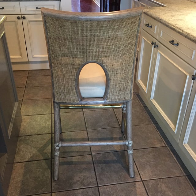 Leather Rattan Cane Counter Height Chairs - Set of 4 - Image 4 of 12