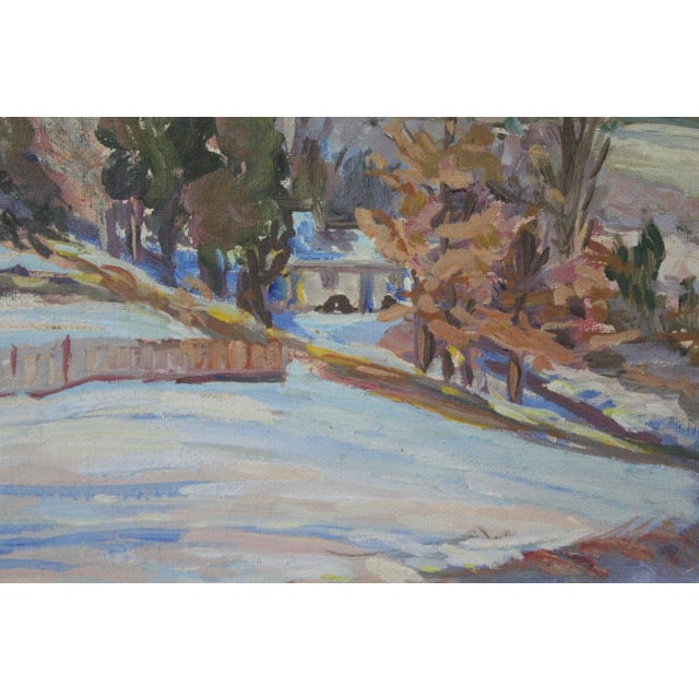 Mid 20th Century Impressionist Winter Landscape Painting For Sale - Image 5 of 7