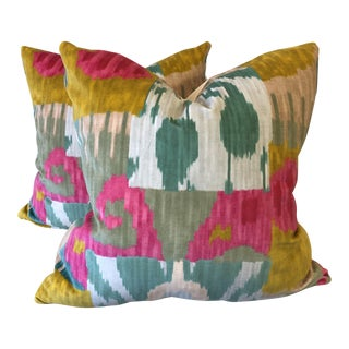 "Pierre Frey ""Bella Coola"" Velvet 22"" Pillows-A Pair For Sale"