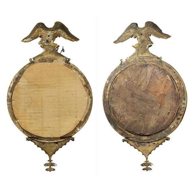 Pair of Federal Giltwood Convex Mirrors For Sale - Image 9 of 10
