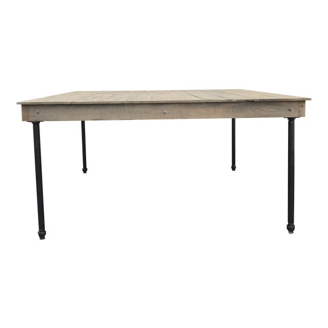 Rustic Dove Gray Wood Square Farm Table For Sale