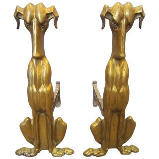 Modernist Gilt Bronze Dog Andirons - a Pair For Sale