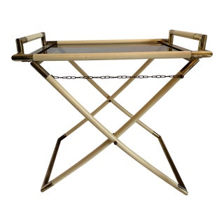 1950s Folding Bar Serving Table in Brass and Glass by Tommaso Barbi, Italy For Sale