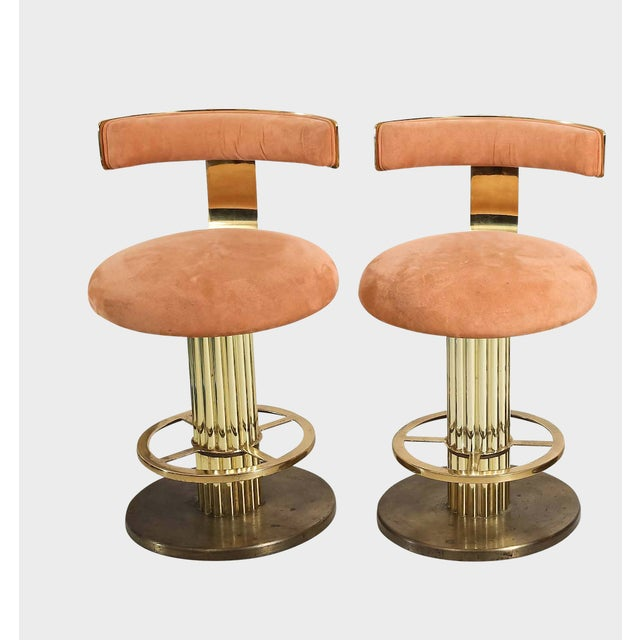 Design for Leisure Art Deco Revival Brass Counter Stools - a Pair For Sale - Image 11 of 12