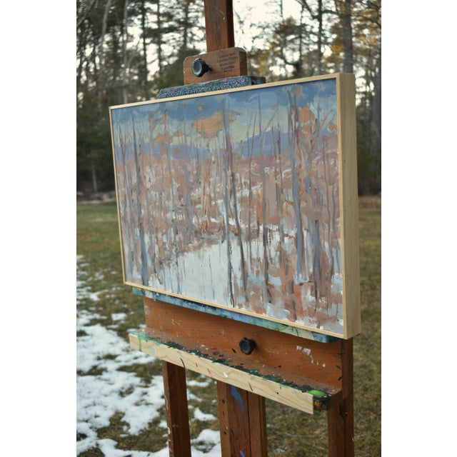 """Brown """"Vermont Memory"""" Contemporary Abstract Landscape Acrylic Painting by Stephen Remick, Framed For Sale - Image 8 of 9"""