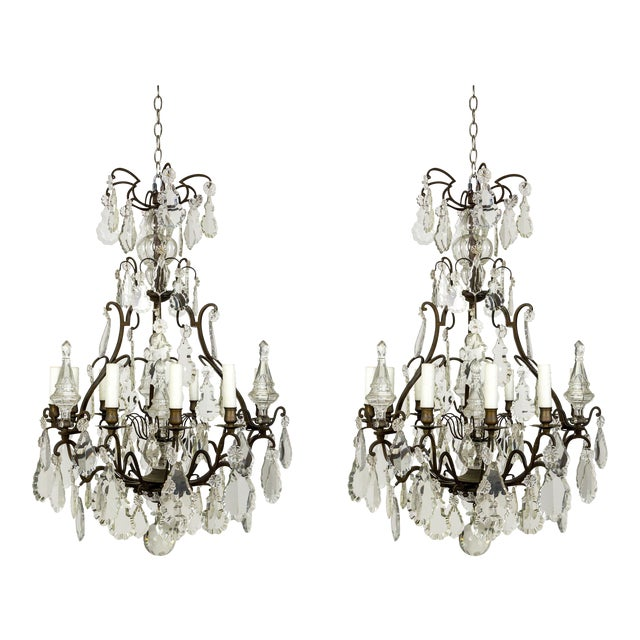 Parisian Second Empire Style Darkened Brass Chandeliers - a Pair For Sale