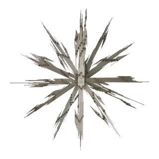 Steel Rod and Brass Lightning Starburst Wall Sculpture 1970s For Sale