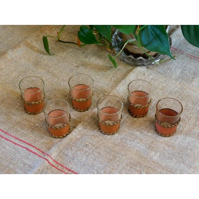 Leather Trimmed Shot Glasses - Set of 6 For Sale In San Francisco - Image 6 of 7