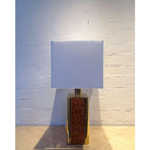 Burl-Wood and Brass Table Lamp designed by Milo Baughman For Sale In Palm Springs - Image 6 of 9