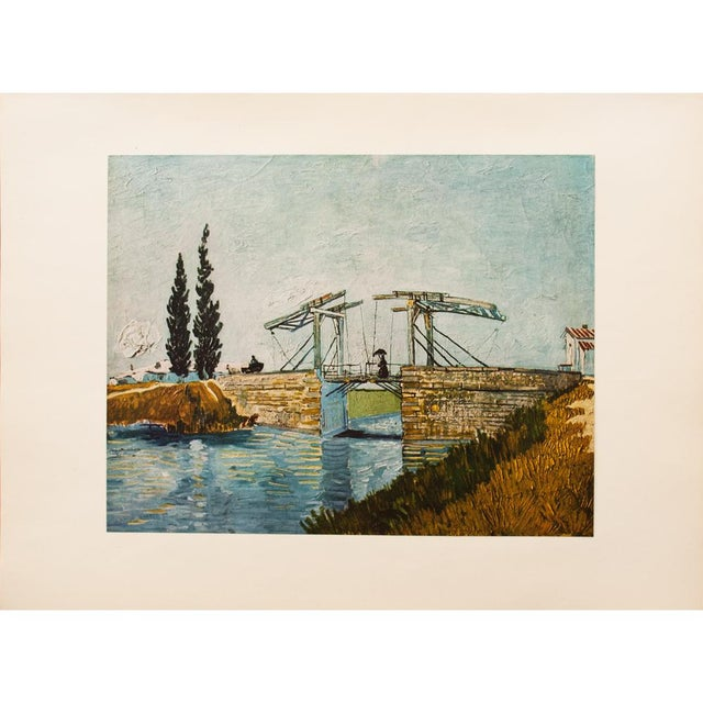"""Blue 1950s Van Gogh, First Edition Vintage Lithograph """"The Drawbridge"""" For Sale - Image 8 of 8"""