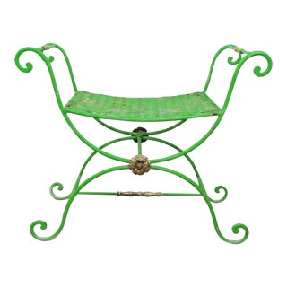 Vintage Neoclassical Style Green Painted Wrought Iron Brass Curule Stool