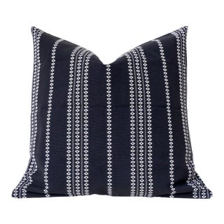 Black Boho Stripe Pillow Cover 16x16 For Sale