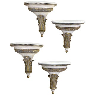 Continental Style Gilt and Painted Wall Brackets - Set of 4