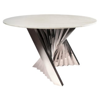 Waterfall Marble Top Dining Table in Silver and White For Sale