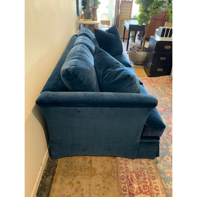 Modern Large Scale Blue Velvet Sofa For Sale - Image 3 of 6