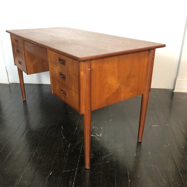1970s Danish Teak Writing Desk For Sale In San Antonio - Image 6 of 13