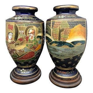 Late 19th-Early 20th Century Satsuma Vases - a Pair For Sale