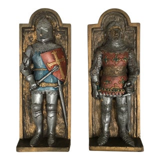 1980's English Knights Ceramic Wall Decor - a Pair For Sale