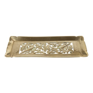 19th Century Art Nouveau English Brass Desktop Pen Tray For Sale