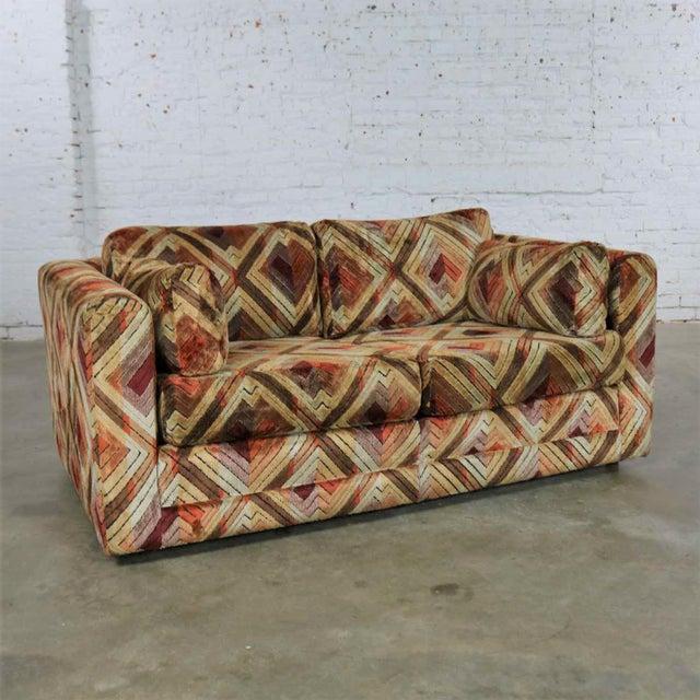 Tuxedo Mod Loveseat Sofa in Jack Lenor Larsen Style Fabric For Sale - Image 13 of 13
