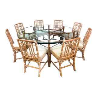 Round McGuire Bamboo + Glass Dining Table With Ten Chairs For Sale