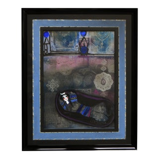 Figurative Mixed Media, Girl in Blue by Nasser Ovissi For Sale