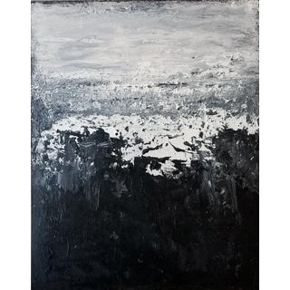 Abstract Modern Original Black White Grey Art Painting For Sale