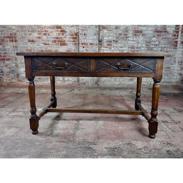 Renaissance Revival Spanish Revival Two Drawer Writing / Dining Table For Sale - Image 3 of 10