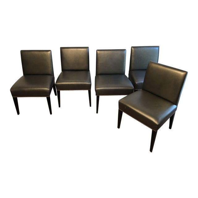 Modern Edelman Leather Custom Built Armless Dining Chairs - Set of 5 For Sale