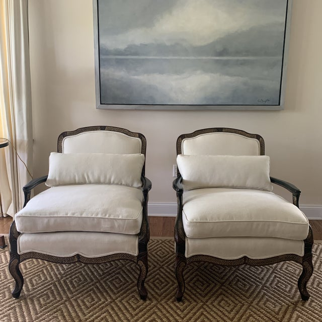 Ebony Chinoiserie Bergere Style Lounge Chairs Upholstered in White Linen - a Pair For Sale - Image 12 of 12