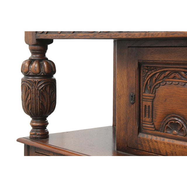 Early 20th Century Antique Carved Oak English Server For Sale - Image 5 of 9
