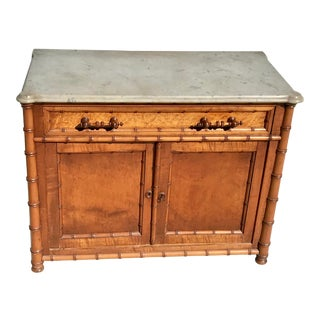 20th Century Hollywood Regency Faux Bamboo and Marble Side Cabinet For Sale